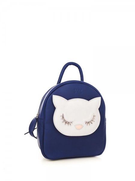 Blue Ami White Kitty Backpack