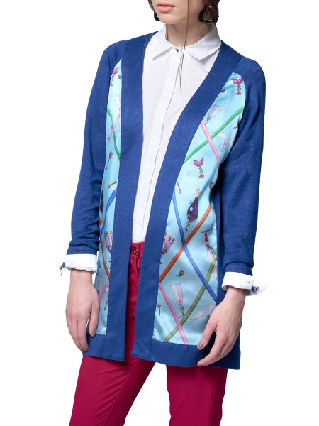 Blue Cardigan with Silk Insertions