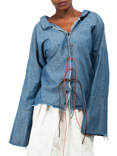 Blue Cotton Shirt with Strings