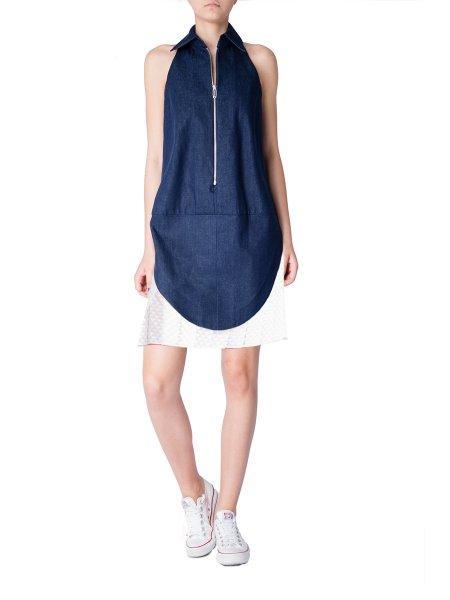 Blue Denim Pleated Dress