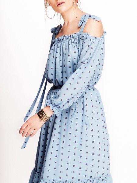 Blue Midi Dress with Dots
