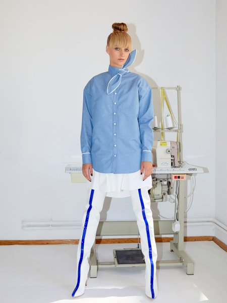 Blue Poplin Shirt with Oversized Detail