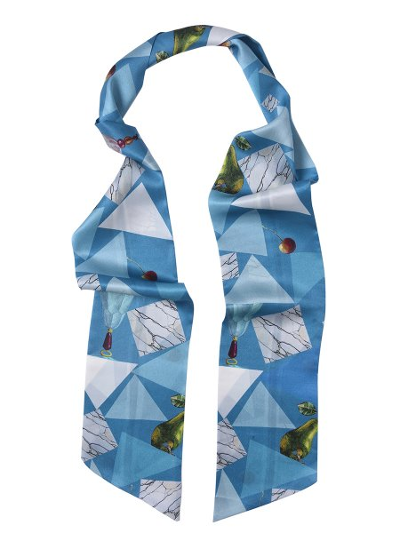 Blue Pure Silk Scarf