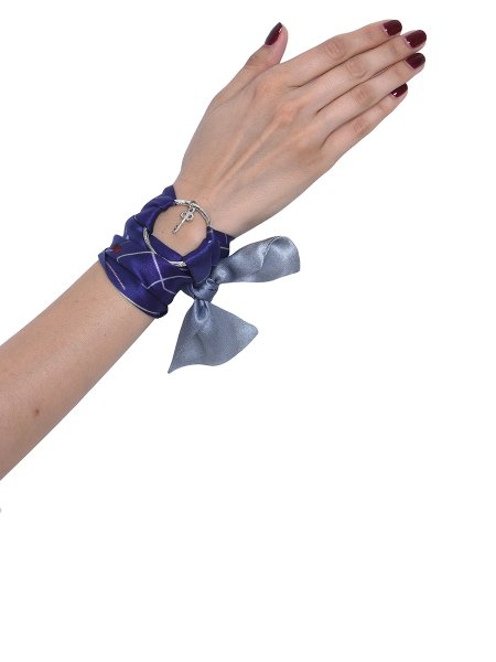 Blue Silk Bracelet with Silver Ring