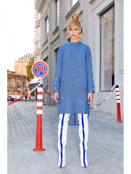 Blue Woolen Asymmetric Dress