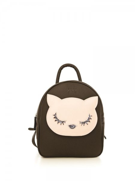 Brown Ami Pink Kitty Backpack