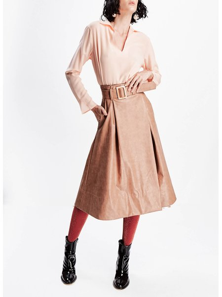 Brown Synthetic Leather Skirt