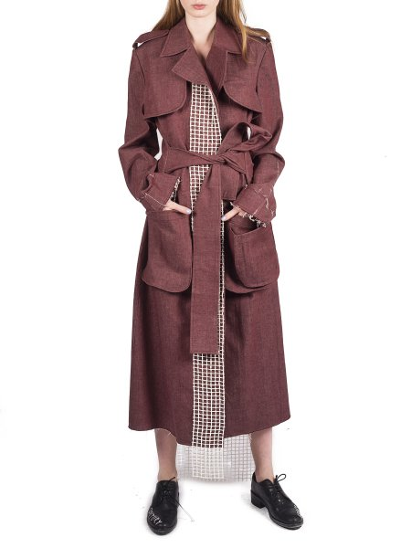 Burgundy Denim Trench