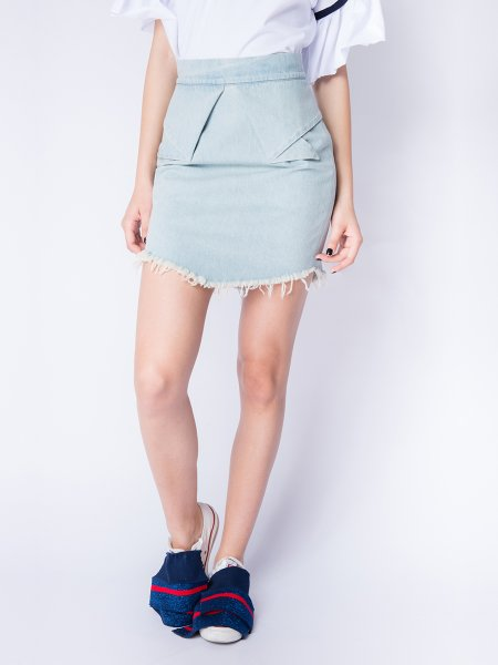 Collar Denim Skirt
