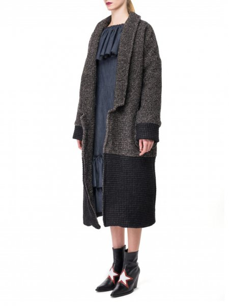 Color Block Wool Mix Coat