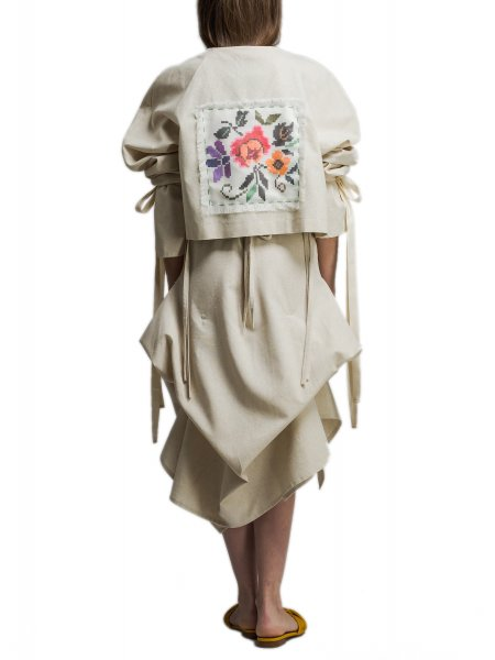 Cotton Jacket With Handmade Embroidery