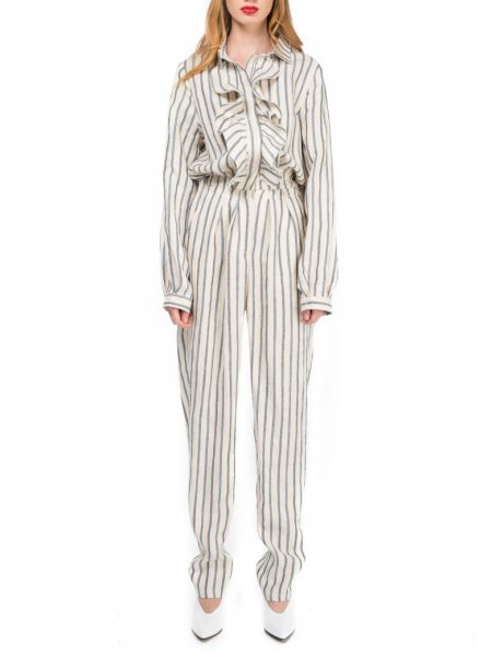 Cotton Striped Jumpsuit