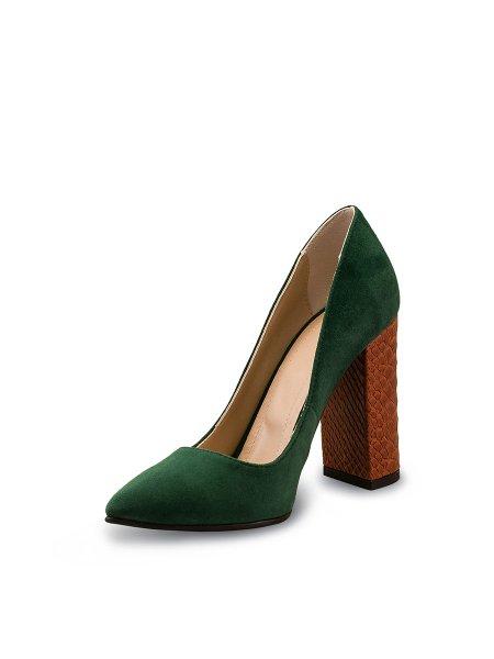 Dark Green Leather High Heels