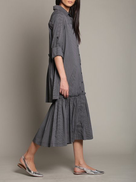 Dark Grey Oversized Dress Frills