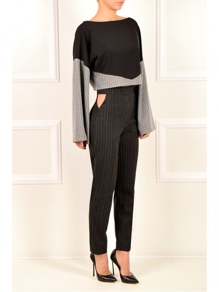 Dark Grey Pinstriped Trousers