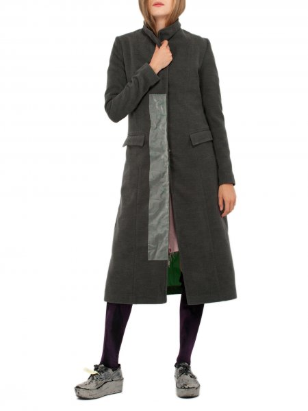 Dark Grey Woolen Overcoat