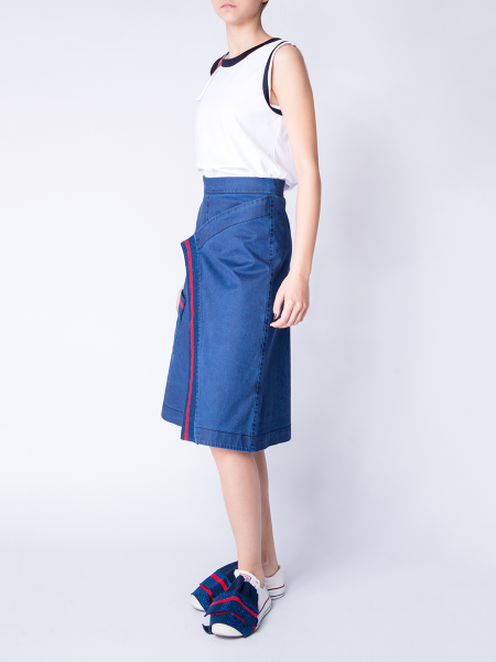 Denim Asymmetric Midi Skirt