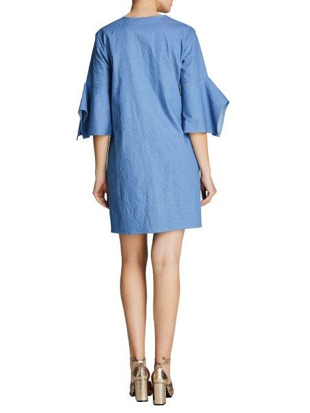 Denim Mini Dress With Ruffled Sleeves