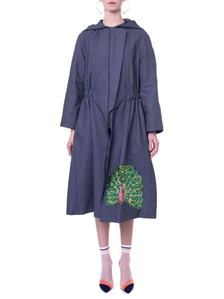 Denim Parka with Embroidery