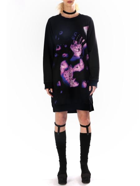 Digitally Printed Black Dress