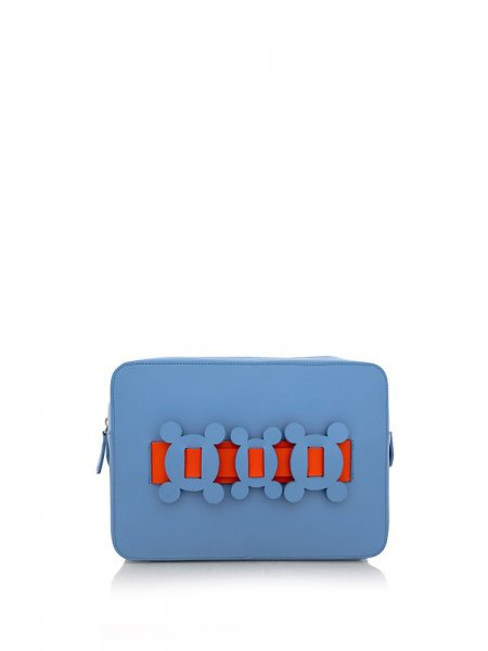 Ella Blue Clutch with Orange Details