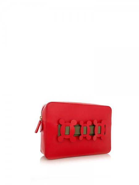 Ella Red Clutch with Olive Details