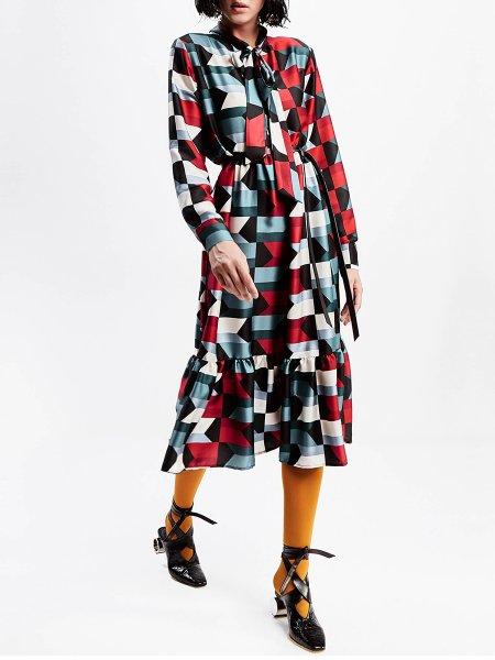Geometric Printed Midi Dress