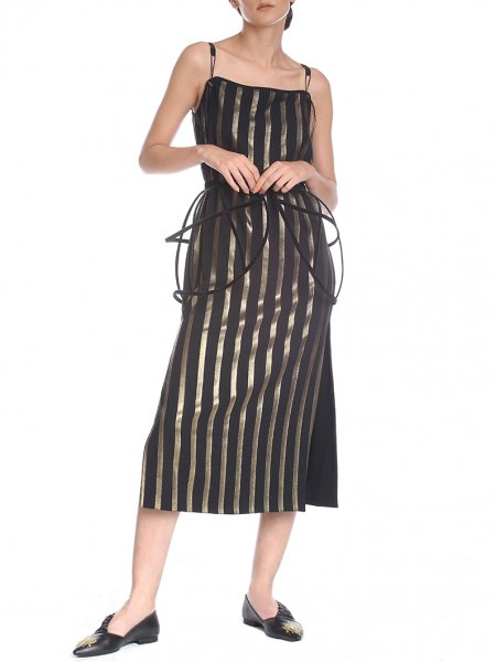Gold Striped Midi Dress