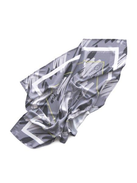 Gray Printed Veil Scarf