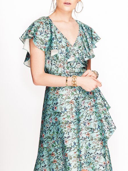 Green Printed Midi Dress