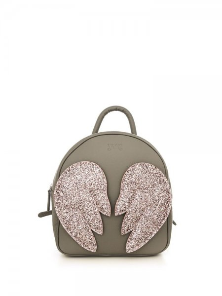 Grey Ami Backpack with Pink Wings