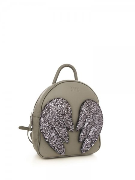 Grey Ami Backpack with Silver Wings