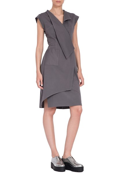 Grey Asymmetric Midi Dress
