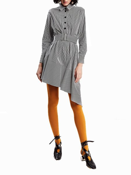 Grey Asymmetric Striped Shirt-Dress
