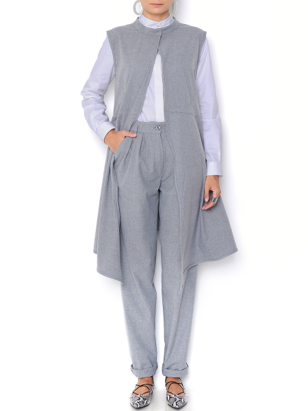 Grey Cashmere and Soft Wool Tunic Vest