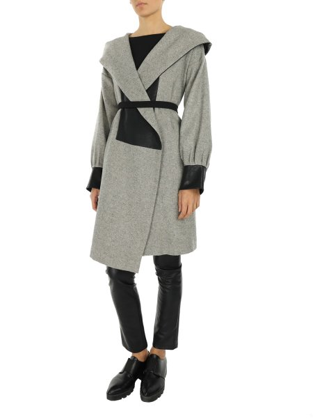 Grey Coat with Oversized Hood