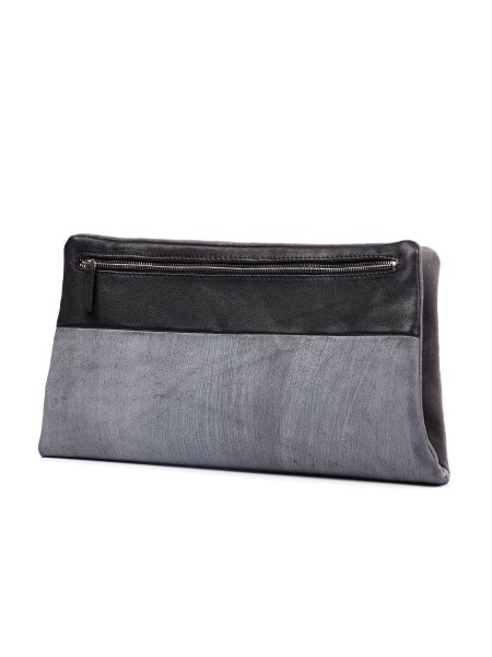 Grey Leather Envelope Bag