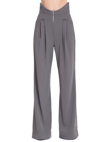 Grey Pallazzo Trousers With High Waist