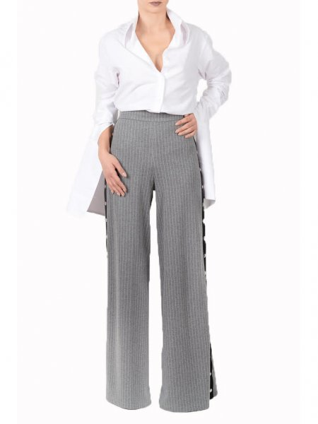 Grey Pinstriped Flared Trousers