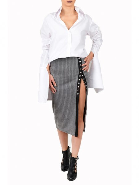 Grey Pinstriped Midi Skirt