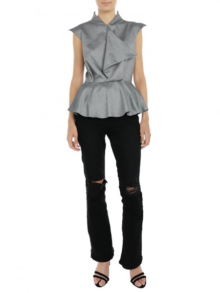 Grey Sleeveless Peplum Top