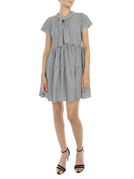 Grey Striped Dress With Frills