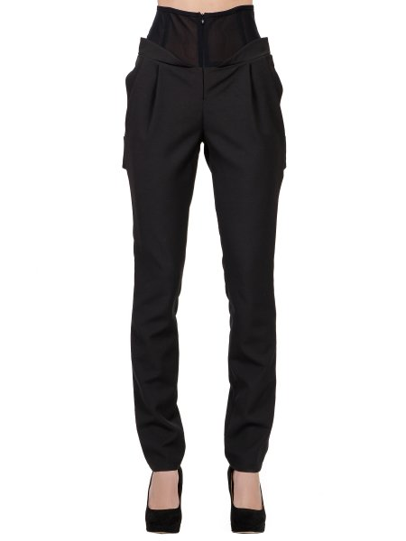 High Waisted Trousers with Tulle Insertions