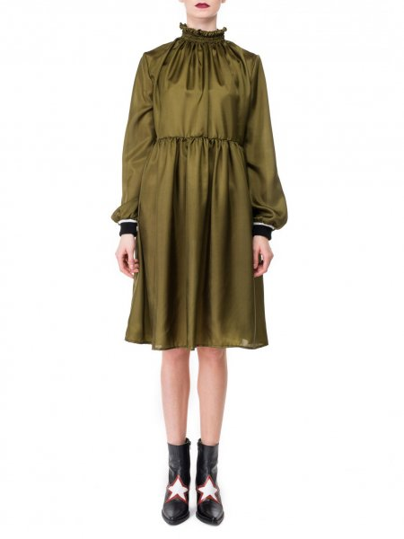 Khaki High Neck Silk Dress