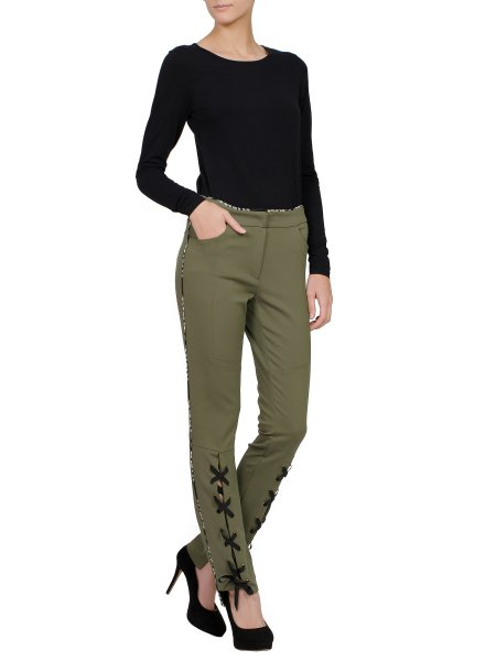 Khaki Slim Fit Trousers with Ribbons