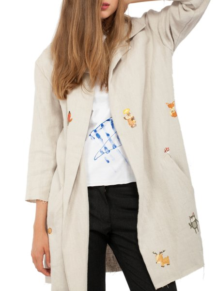 Light Beige Woolen Trench