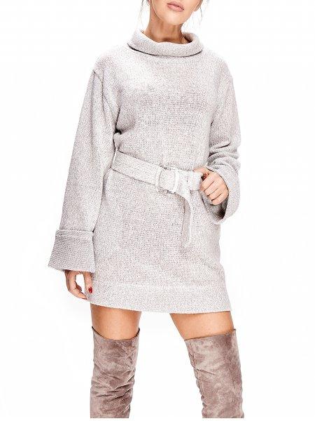 Light Grey Mini Dress with Belt