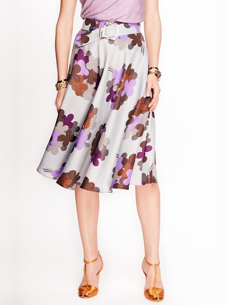 Light Grey Printed Skirt