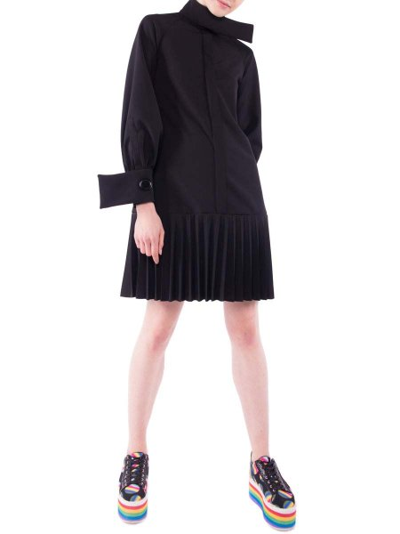 Long Sleeved Dress With Pleated Detail