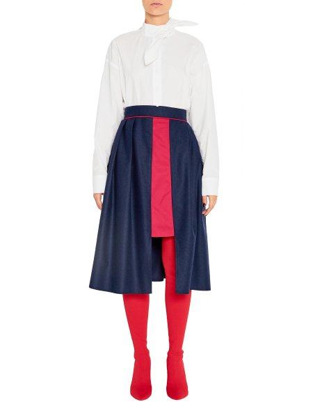 Midi Asymmetric Woolen Skirt